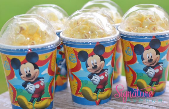 Mickey Mouse Birthday Party Cups-Popcorn Box-Set of 8