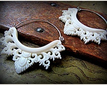 Tribal Style Carved Bone Filigree Hoop Earrings ~ Sterling Silver Wire ~ Layer w/ Gauges Tunnels Eyelets ~  Boho Festival Belly Dance Style