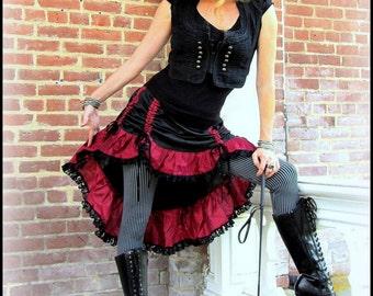 Steampunk Pirate Skirt ~ Black w/ Red Ruffles Bustle Skirt Black Lace ~ Victorian Gothic Vampire Burlesque ~ Renaissance Festival Fair
