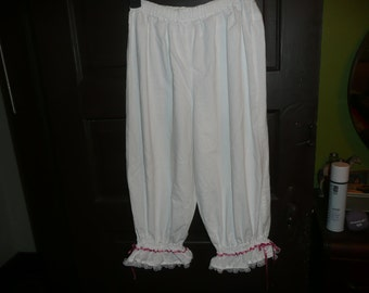 White Cotton Knee Length Bloomers Size S-M