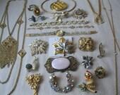 Vintage lot gold rhinestonemany  designer