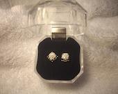 Vintage Solid 14K Gold Cluster Diamond Stud Earrings