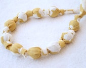 ORGANIC Fabric Statement Necklace,Teething Necklace, Chomping Necklace, Nursing Necklace - Cherry Blossom on Yellow
