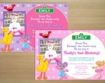 Sesame Street Girl Birthday Invitation - Digital File (Printing Services Available)