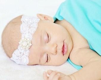 baby headband, newborn headband, lace headband, baby girl headband, vintage headband, rhinestone headband, baptism headband, wedding head