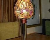 Glass art table lamp.   Mosaic and crackle glass.   Asian style desk lamp.