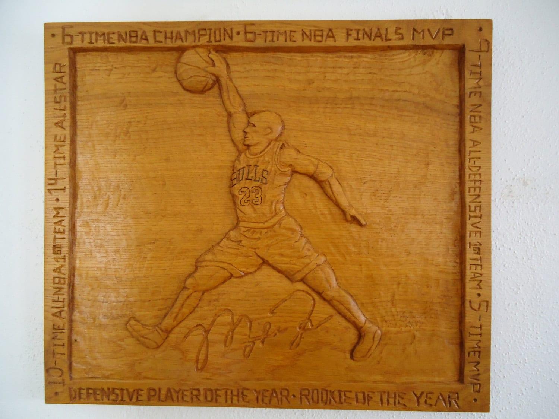 Wood Carved Wall Decor Michael Jordan Wood Carving Wood Sculpture Wall Decor