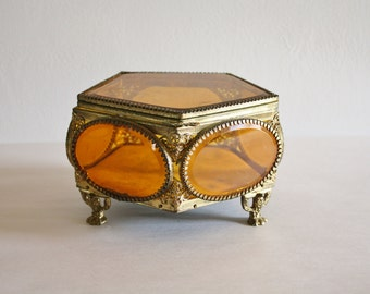Vintage Brass Pentagon Glass Window Jewelry Box