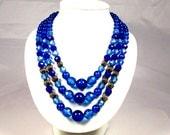 Vintage Three Strand Blue Plastic Bead Necklace Japan