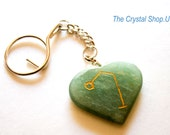 Archangel Raphael Symbol on Green Aventurine Keychain