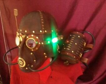 Steampunk helmet with belt tank 'Leather'