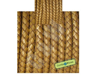 DB06120 - 0.40 meter x 6.00mm Gold, Round Braided Leather Cord