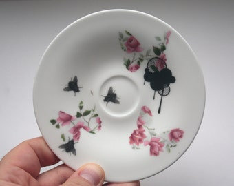 Upcycled stoneware fine bone china plate with vintage illustrations.