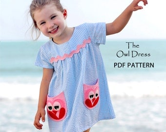 Childrens sewing pattern, pdf girls sewing pattern, girls dress pattern, dress sewing pattern, girls clothing pattern, pattern kids, OWL