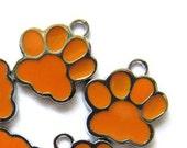Set of 5 Silver Tone Orange ENAMEL BEAR'S PAW Charm Pendants