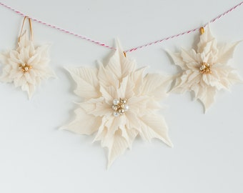 White Poinsettias Ornamenst - Set of 3 clay ponsettias ornaments for Christmas Tree - Made To Order
