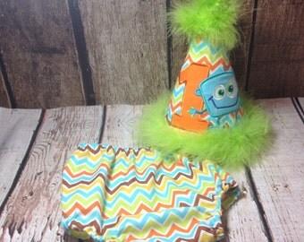 Monster smash cake set - first birthday - chevron - boys Birthday - monsters