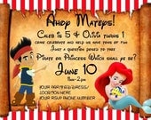 your choice of different styles of pirate and mermaid (jake and ariel inspired) digital invitations - I design you print