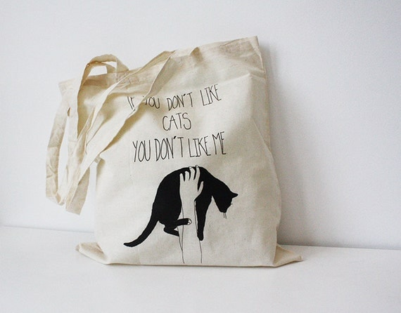 tote bag  black cat quote