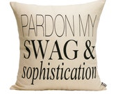 "Pardon My S&S  Pillow Cover // 16""x16"" Silk Screen  natural/oatmeal Pillow Cover"