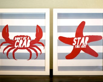 Crab & Starfish Prints, 8x10, Instant Download