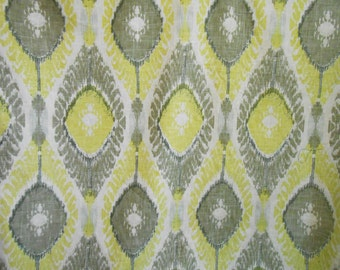 Pair of Rod Pocket Curtains in Lemon - Ikat Richloom fabric- Designer drapery in Lemon- Ikat drapes