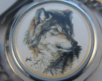 Free Shipping! Beautiful Wolf Quartz Pocket Watch by Westminster in a Sleek Silver Case  - Working and Ready for Use