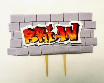 Customizable 80s Cake Topper - 1 qty  graffiti name sign   -  80's party, birthday cake,