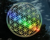 Flower of Life Sticker, Prismatic  Rainbow Gold or Silver, Medium or Small Size