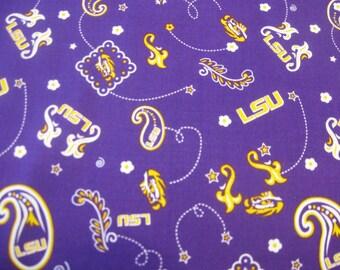 Louisiana State University Bandana Fabric LSU  by the  YARD New Just in