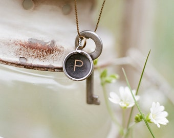 Vintage Typewriter Key Necklace with Trunk Key (one letter)