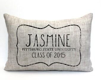 "personalized graduation pillow, college graduate gift, high school graduate gift,  graduation gift, ""The Jasmine"""