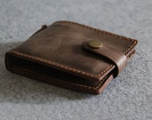 Genuine Leather wallet --simple style purse--Men's wallet--Brown leather