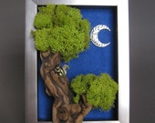 OOAK Whimsical, mixed media, squirrel in tree, framed assemblage - Nighttime in the Forest