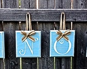 SNOW Christmas Winter Country Decor - Blue Hanging Wooden Alphabet Block Sign with Jute Ribbon