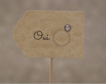 Oui Ring Wedding Engagement Cupcake Toppers bridal shower hen do