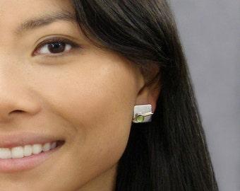 Peridot Silver Square Earrings ~ August Birthstone