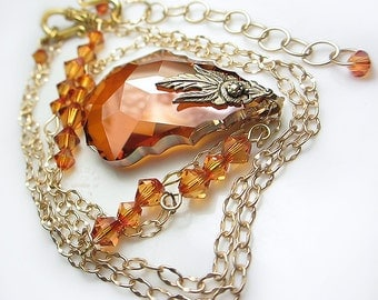 LARGE Swarovski Amber Crystal Necklace Copper Orange Pendant Necklace Swarovski Baroque Briolette Topaz Necklace Gift for her Wedding