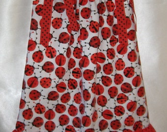 Pillowcase Dress with Ladybugs and Red and Black Polka Dots