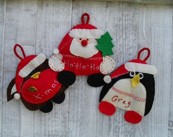 Santa ,Robin and Penguin Felt Christmas Ornaments with pouches  - Sewing  pattern  PDF - DIY  Christmas tree decorationChristmas crafts