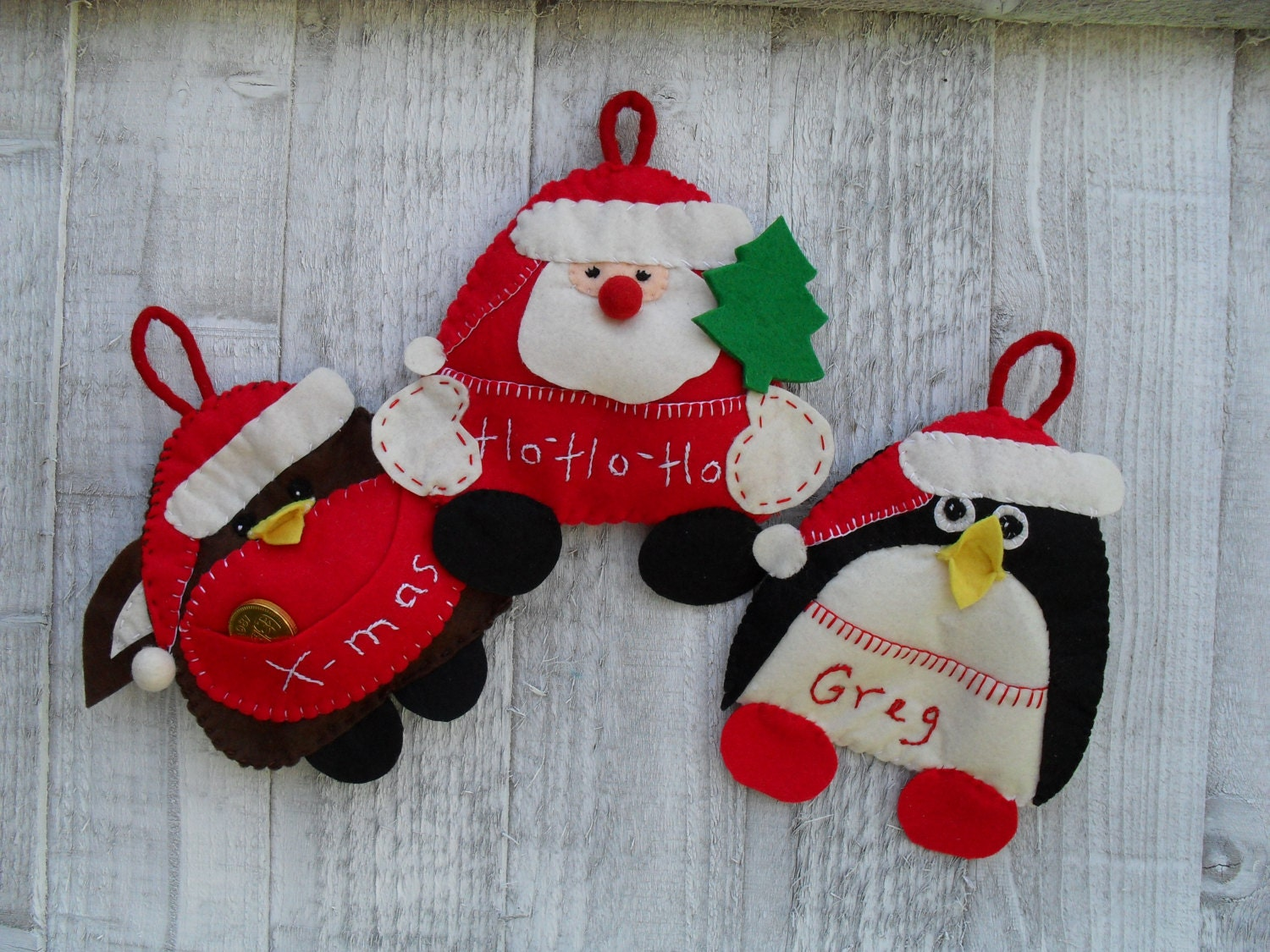 Santa robin and penguin felt christmas ornaments with pouches - How to make felt christmas decorations ...