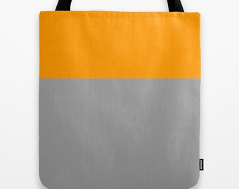 Canvas Tote Bag - Orange Tote Bag - Color Block Bag - Orange Bag - School Tote - Bridesmaid Gift - Colorblock Tote Bag