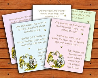 Classic Winnie the Pooh Baby Shower Envelope Insert Bring a Book Instead of a Card