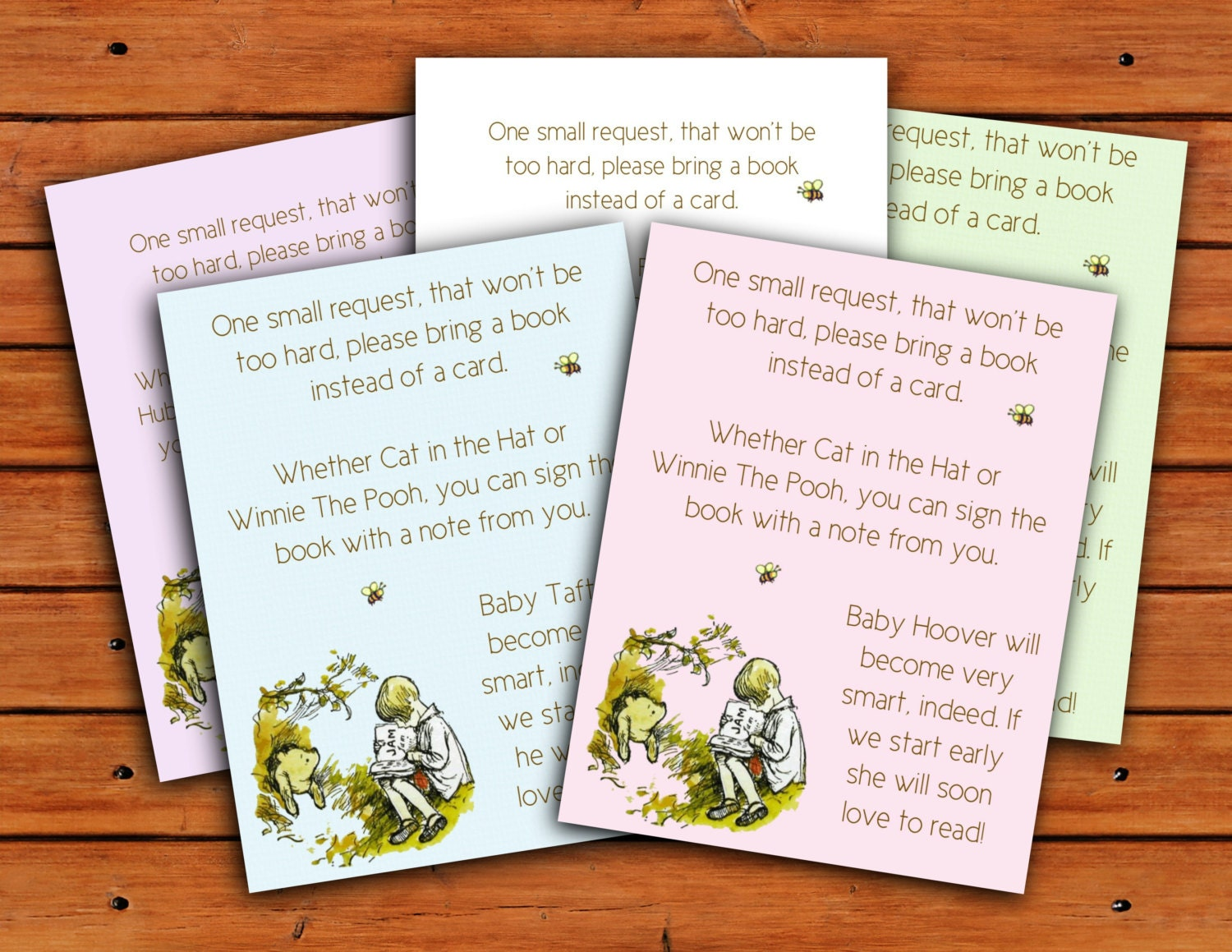 classic winnie the pooh baby shower envelope insert bring a