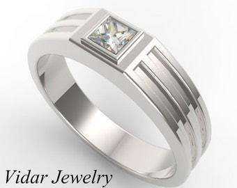Mens Wedding Band,Princess Cut Wedding Band,Men's Diamond Wedding Band,Unique Wedding Band,Diamond Wedding Ring For Mens