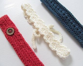 PICK 3:  Crochet Headband, Crochet Headbands - Variety Pack - Three Women's Headbands, Pick 3, Color Choice, Crochet - Headband