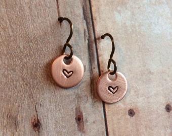 Miniature Heart Earrings, Copper with Niobium Hypoallergenic Ear Wires for Sensitive Ears, ON SALE