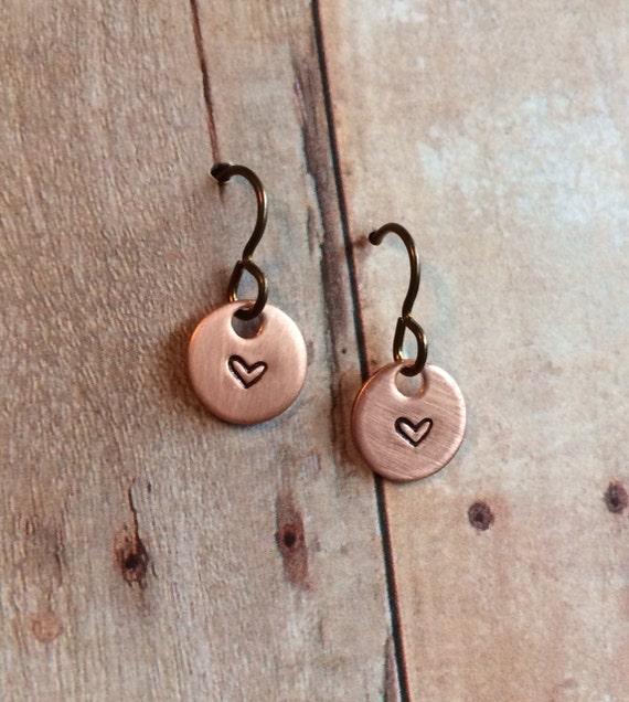 Miniature Heart Earrings, Copper with Niobium Hypoallergenic Ear Wires for Sensitive Ears