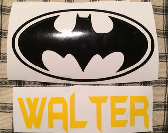 Batman logo decal and name