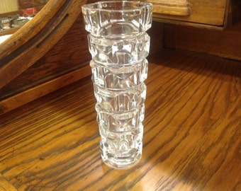 Vintage Clear Vase with Cube Design